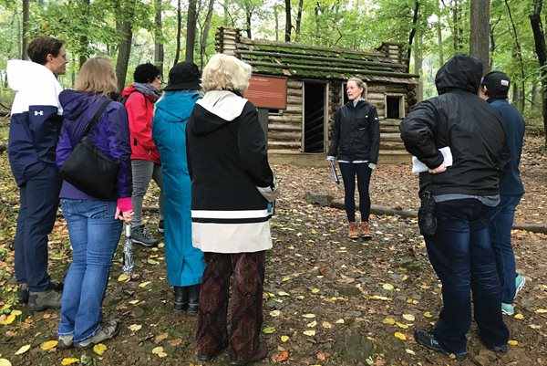 Faculty members at Jockey Hollow in Morristown National Historical Park.